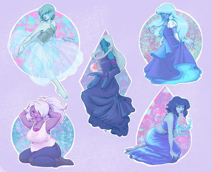 Steven Universe stickers, Blue gems. by thehappygirl