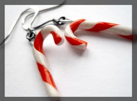 Candy Cane Earrings by MisttheWarrior