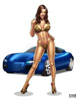 Pin up girl with car by CARFillustration