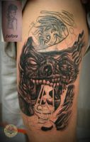 cover up skull face tat by 2Face-Tattoo