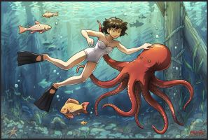 Octopus and Girl by Usagisama