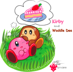 Kirby n Waddle Dee by Bowser2Queen