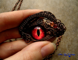 Smaug Inspired - LOTR - Wire Wrapped Dragon Eye by LadyPirotessa