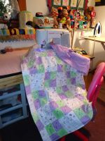 Seafoam Lavender Girlie Quilt 6-24-13 by wiccanwitchiepoo