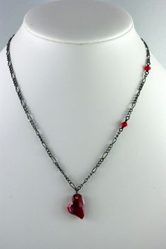 Black and Red Heart Necklace by michelleaudette