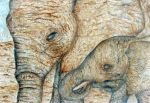 Mother and baby Elephants by twopixies