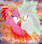 Fire Fairy and her Angel by PetitMoon5