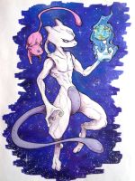 Mewtwo and Mew by WelineDeem
