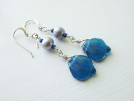 Blue Leaf Silver Pearl Earring by QuintessentialArts