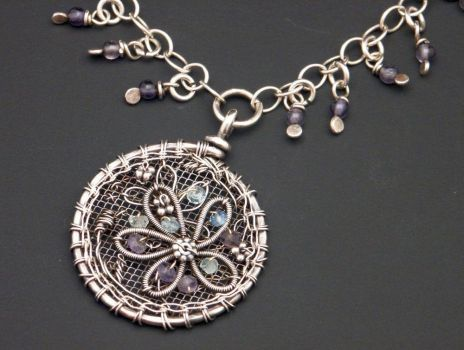 Embroidered Charm Necklace by WiredElements