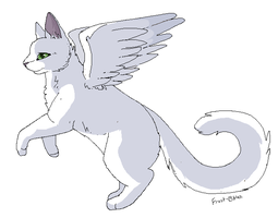 Winged Cat Line Art by purrsians