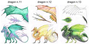 Dragon Color Designs 11,12,13 by BraveBabysitter
