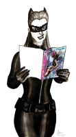 Selina reads DCnU Catwoman by dumblyd0re