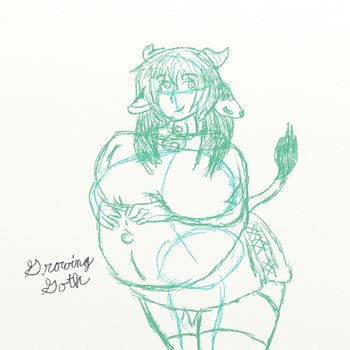 Pregnant Cow Girl Sketch by growing-goth