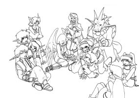 WiP-The old Group-lineart by Dea-89