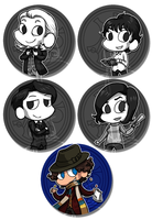 Classic Doctor Who Buttons by Ilovetodraw