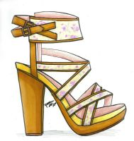 Yellow and Flower High Heels Spring summer by HANNA-PRETTY