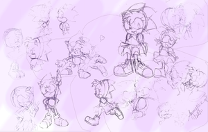 Sonic and Amy Sketches by Aamypink