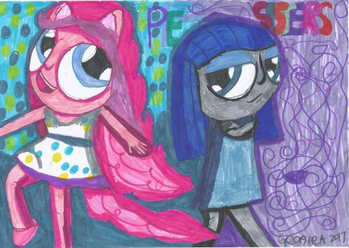 drawn by memory:Pie sisters pinkie pie and maud by butterflygirlco
