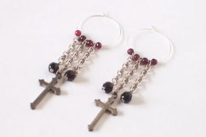 Cross Earrings with Garnet by BastsBoutique
