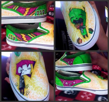 Gir and Gaz Invader Zim Shoes by TheCookiMonster