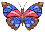 Stained Glass Agrias Butterfly by Rubixa-Seraph