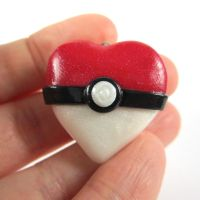 Pokeball Heart locket by TrenoNights