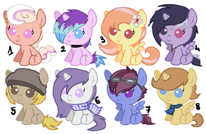 8 pony adoptables OPEN by A-Blue-Fire