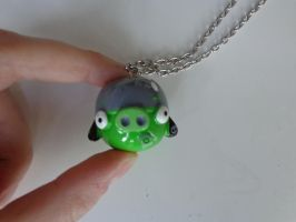 Helmet Piggy necklace detail of the figure by Gallade007