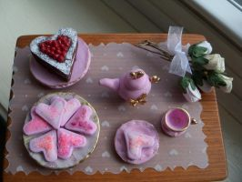 Miniature Romantic Table setting in Pink by Stacy270