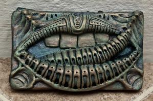 Giger inspired belt buckle - Faux Bronze finish by biomechanoid56