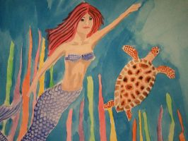 Mermaid and Sea Turtle by faryewing