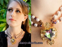 Heart Gem Necklace by DaisyViktoria