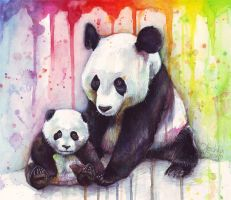 Baby and Mama Panda Watercolor by Olechka01