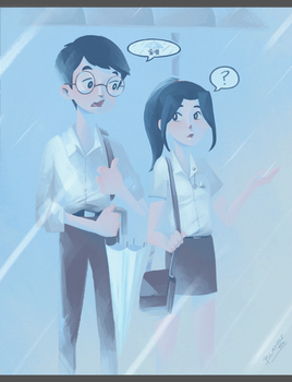 A conversation with a stranger on a rainy day. :D by Blackhole994