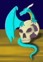 Colour human skull and dragon by Poorartman