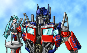 Optimus and Miku_colored by smilebot-adridea
