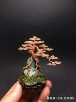Copper root-over-rock wire bonsai tree by Ken To by KenToArt