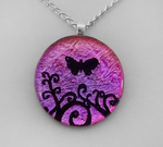 Magenta Butterfly Swirls Glass by HoneyCatJewelry