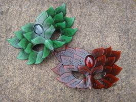 Spring and Autumn Green Man leather masks by Masktastic