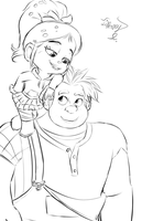 Ralph n Vanellope sketch by iTiffanyBlue