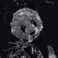 Scratch art Panda by bluepenguingirl
