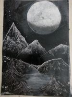 spray paint art , black and white nature scene by abtheartist
