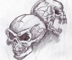 double skull doodle by greenbaypara