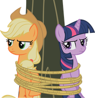 Applejack-Twilight - Tied to a Tree by midnite99