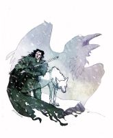 Jon and Ghost by SarahRoseKelly