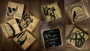 Poe, Anitomical and tentacle Drink Coasters by NeverlandJewelry