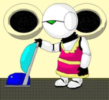Marvin hoovering by TARDISachieve