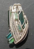 silver wirewrap 6 tourmalines by tattoopink