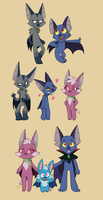 Bat Family by Phoelion